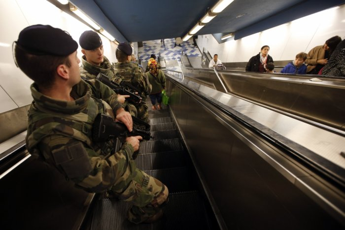 Trench soldiers patrol in the subway in Marseille, France, Nov. 15, 2015, following the series of deadly attacks in Paris on Friday. REUTERS