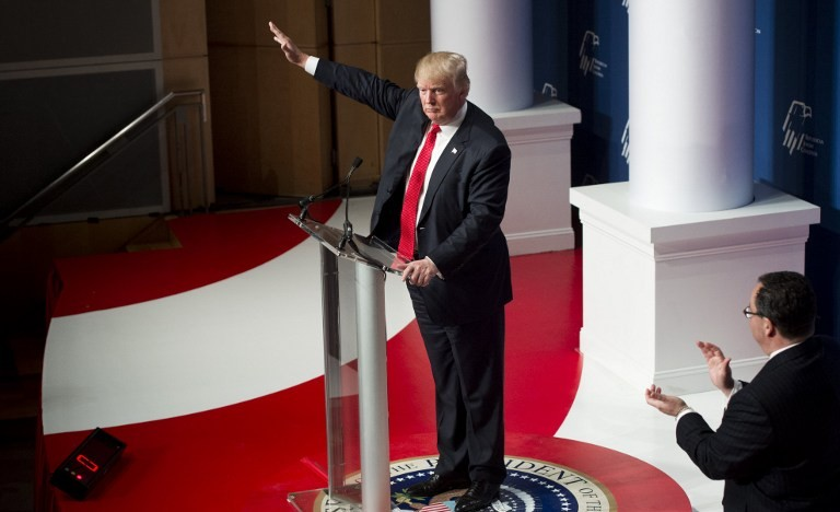 Please G-d let this be a real photo of Trump speaking at  a Jewish Coalition Forum event, Dec. 3, 2015 (AFP/SAUL LOEB)