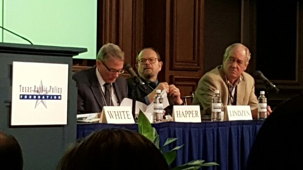 L-R: Dr. Will Happer, Dr. Richard Lindzen, Dr. Patrick Moore.