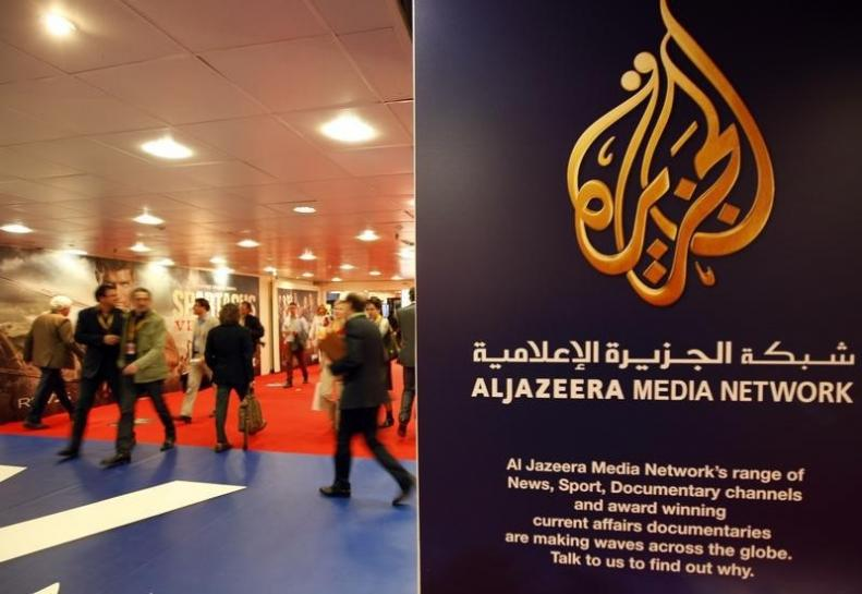 Al Jazeera's logo at the MIPTV, the International Television Programs Market, event in Cannes April 2, 2012  REUTERS