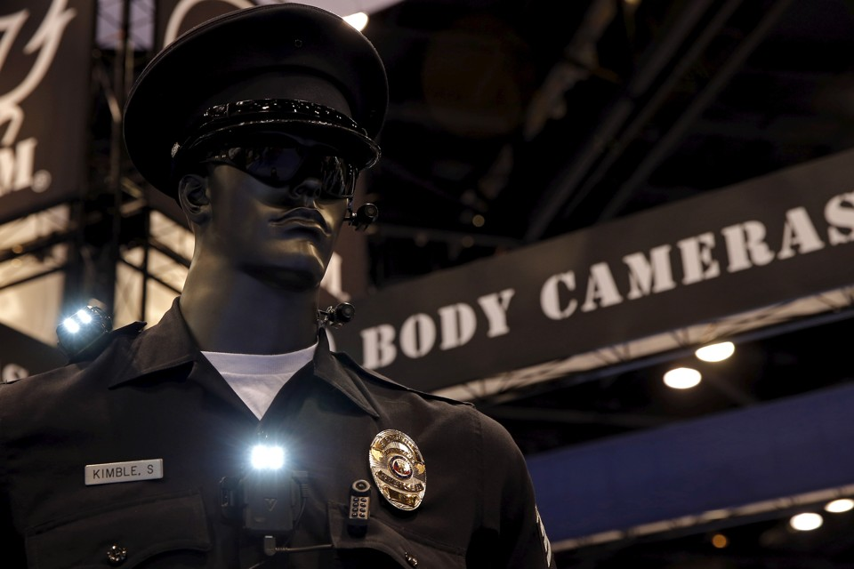 Police body cameras are seen on a mannequin at an exhibit booth by manufacturer Wolfcom at the International Association of Chiefs of Police conference in Chicago