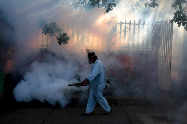 A health ministry worker fumigates a house to kill mosquitoes to prevent the entry of Zika virus in Managua, Nicaragua Jan. 26, 2016. REUTERS