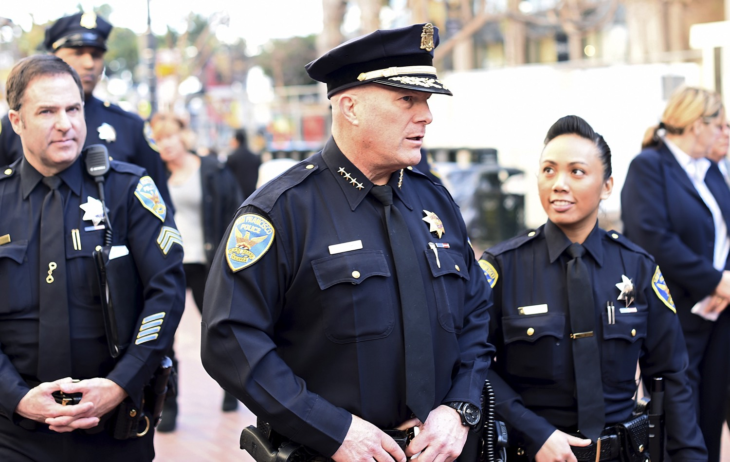 San Francisco Police Chief Greg Suhr walks through Super Bowl City in SF, Jan. 27, 2016. [REUTERS/Noah Berger]