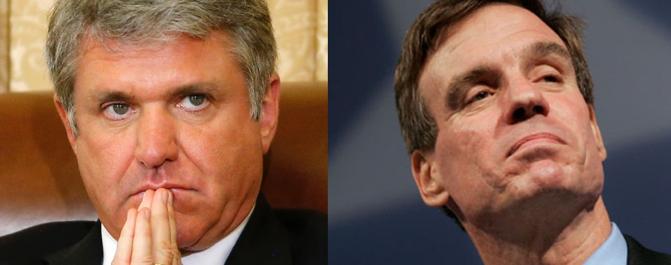 L: House Homeland Security Committee Chair Michael McCaul (R-TX). R: Sen. Mark Warner (D-VA)