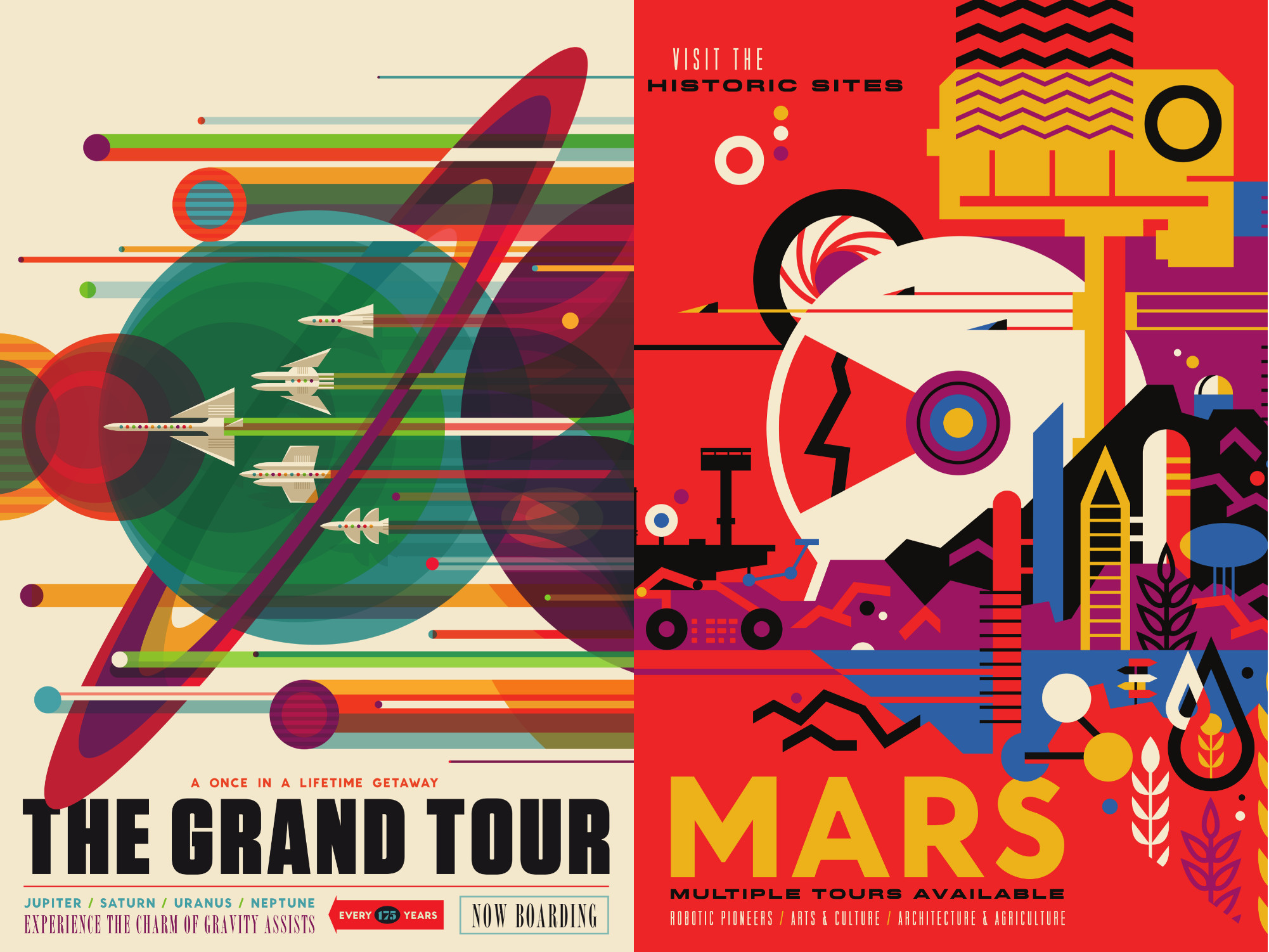 Gorgeous retrofuturistic space travel posters from nasa for Retro space design