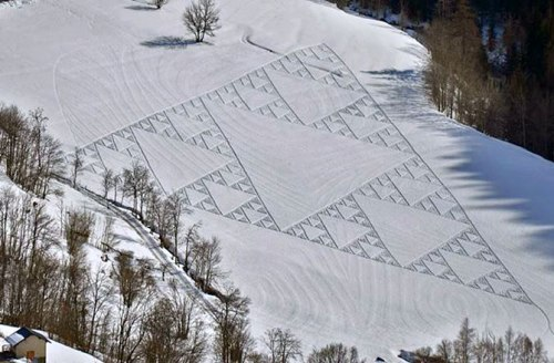 Sierpinski Triangle in snow by Simon Beck