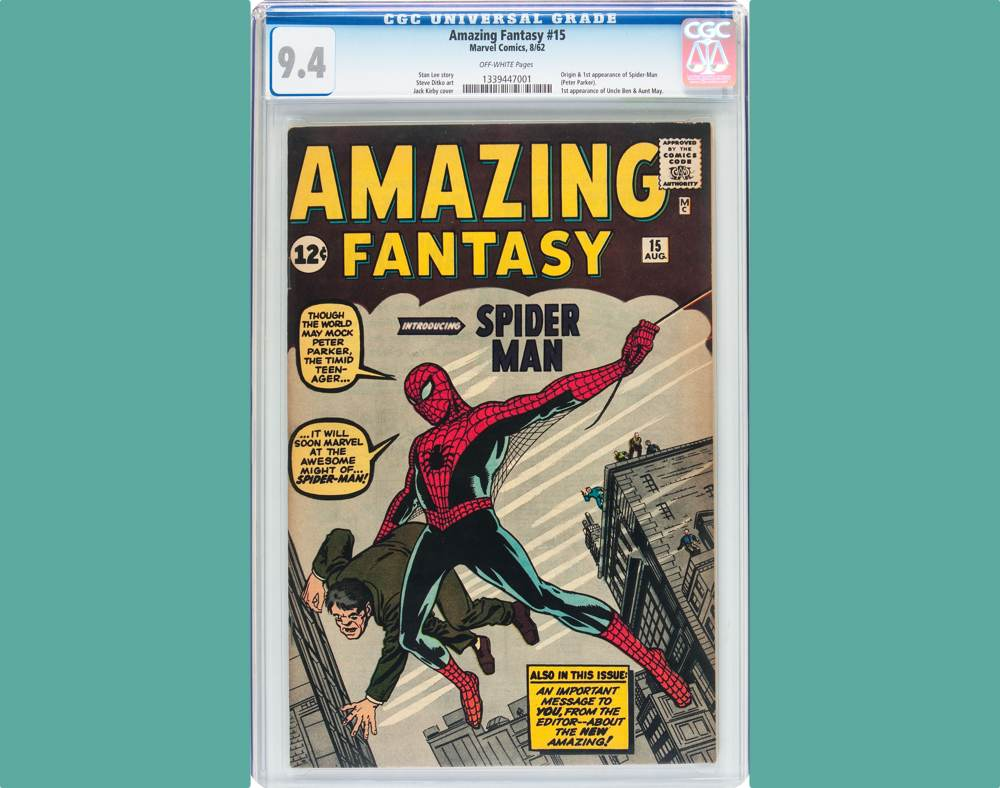 Near-Mint CGC 9.4 copy of Spider-Man's first appearance, purchased for $1,200 then kept in a safe deposit box for 35 years, sets $454,100 all-time auction record price, Feb. 18 in Dallas