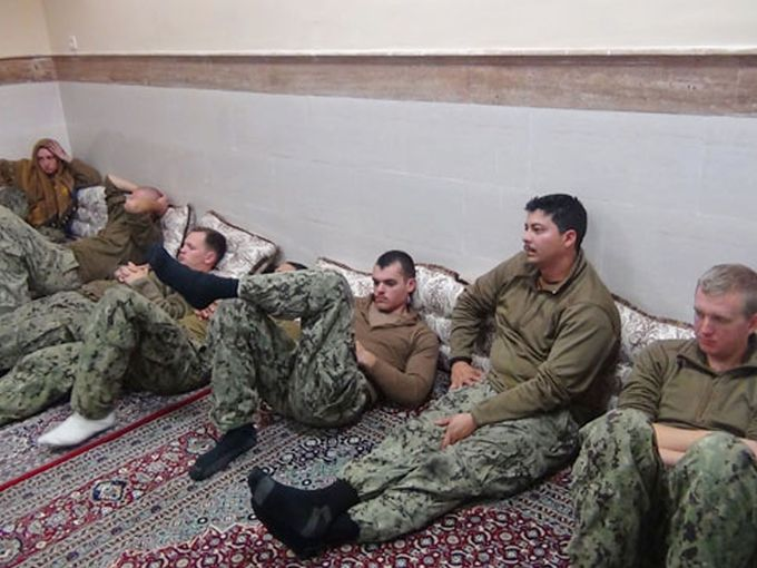 Photo released by Iranian Revolutionary Guards on  Jan. 13, 2016, shows detained US Navy sailors in Iran prior to their release.  Sepahnews via navytimes.com