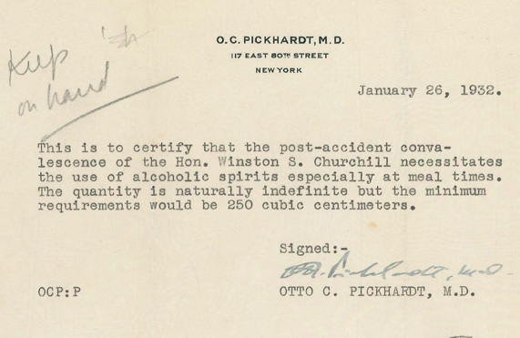 Churchill Got A DoctorS Note Requiring Him To Drink At Least