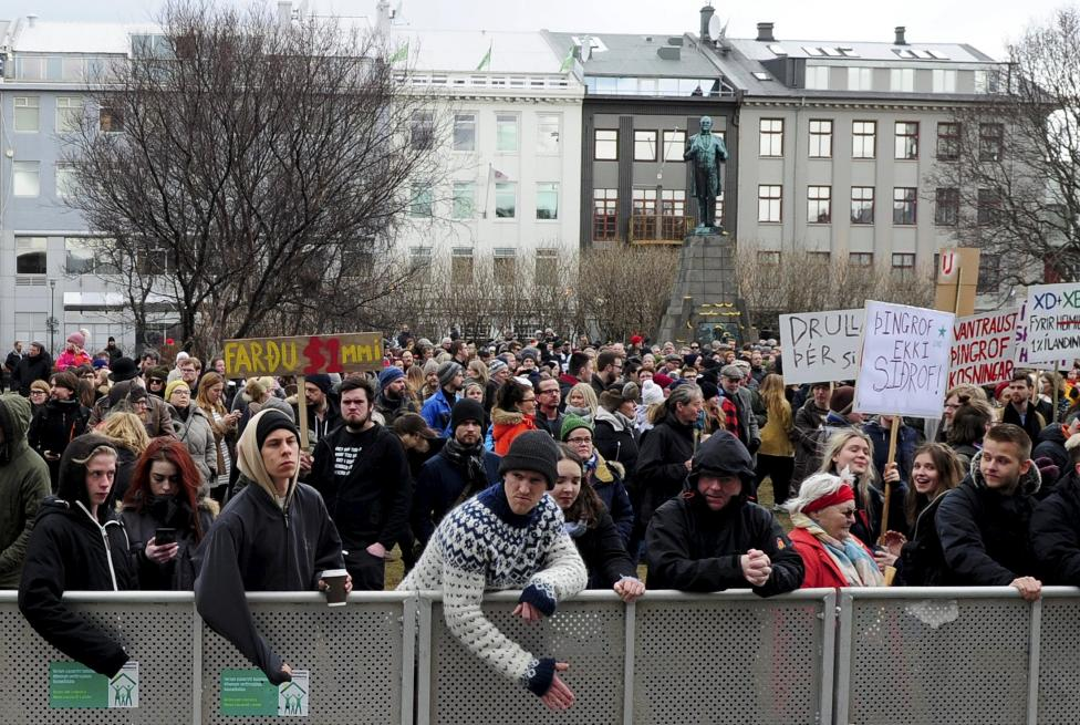 People demonstrate against Iceland's Prime Minister Sigmundur David Gunnlaugsson in Reykjavik, Iceland April 5, 2016. REUTERS