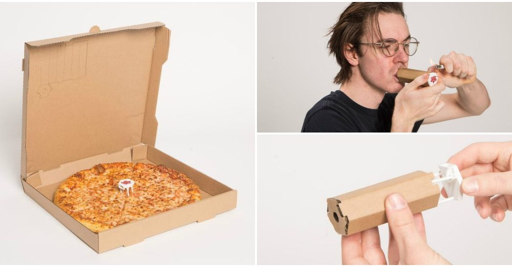 Pizza box unfolds into a weed pipe