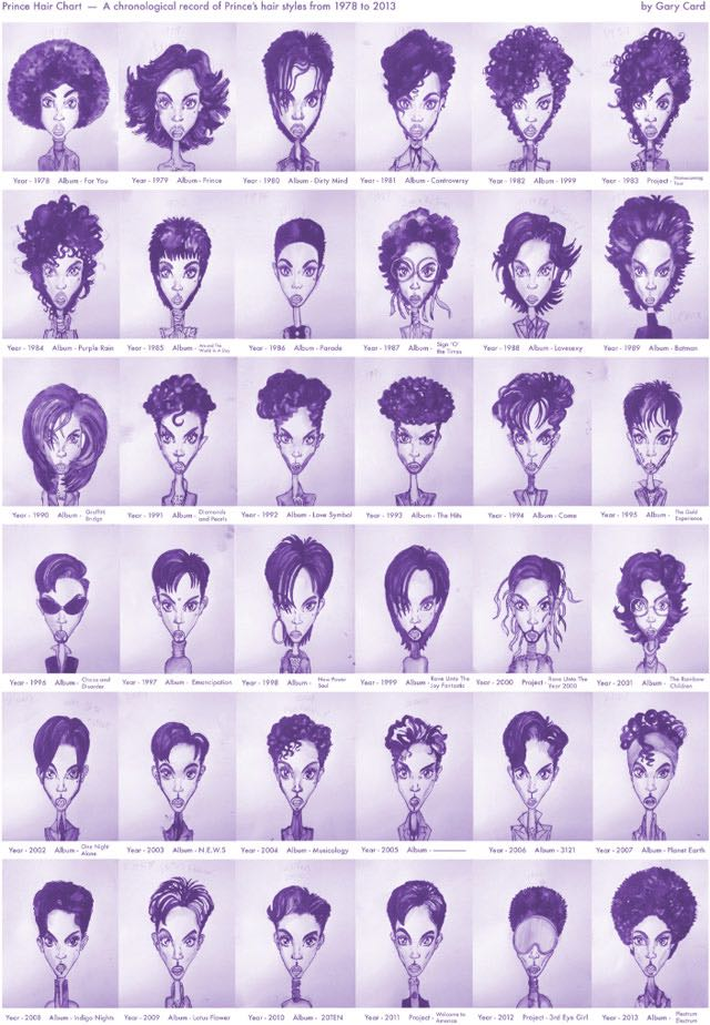 The amazing illustrated chart of Prince's hairstyles