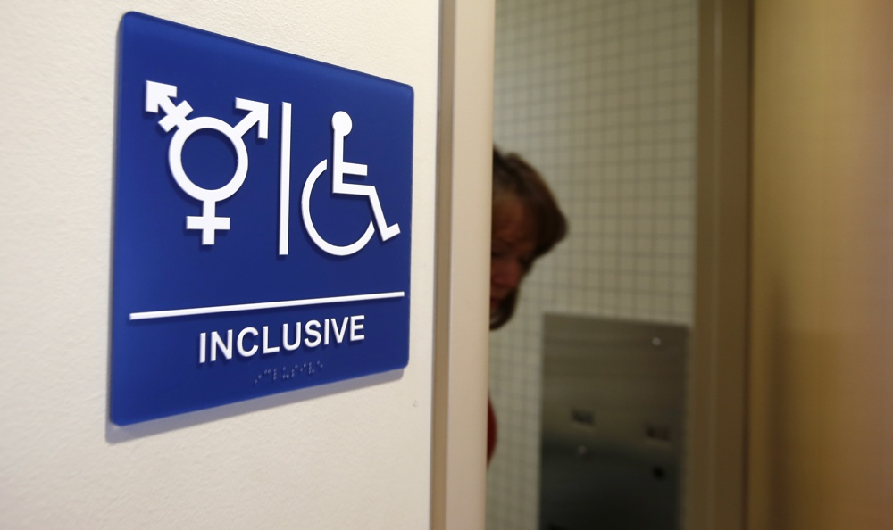 A gender-neutral bathroom is seen at the University of California, Irvine, 2014 [Reuters]