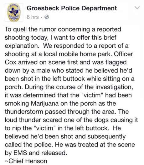Texas man so stoned he mistakes dog bite for gun shot, calls the cops