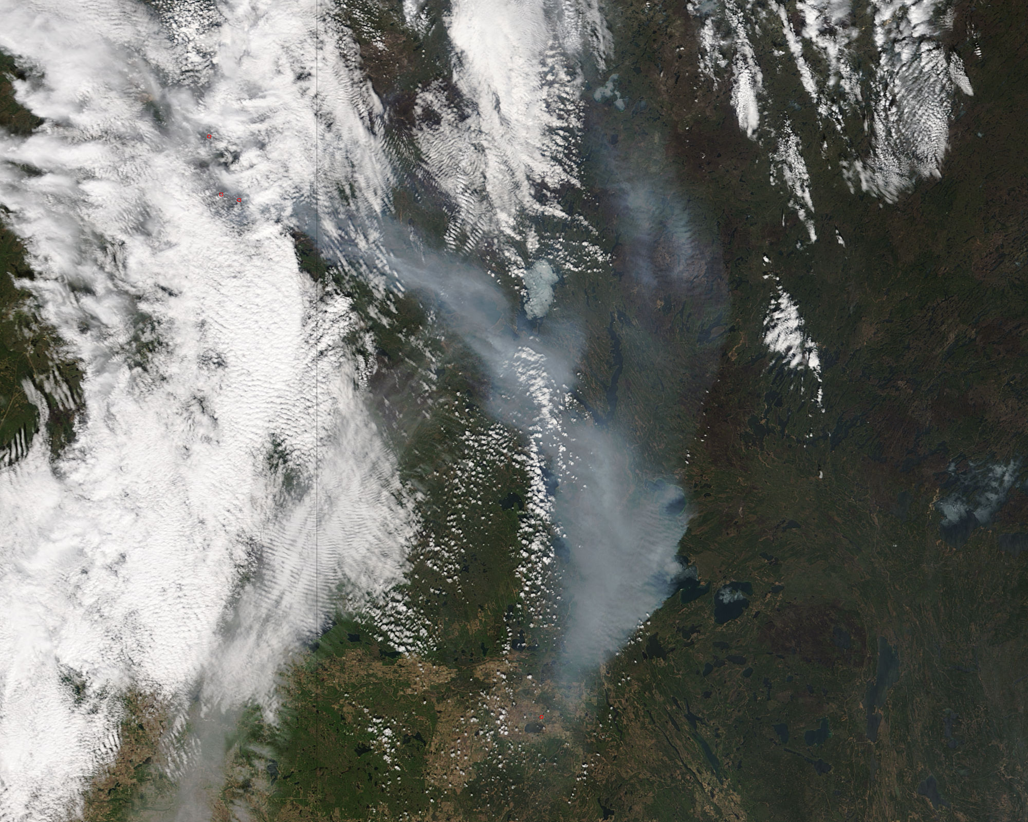 On May 8, 2016, the MODIS instrument on the Terra satellite captured this image of Ft. McMurray Fire in Alberta, Canada. [NASA Goddard MODIS Rapid Response Team]