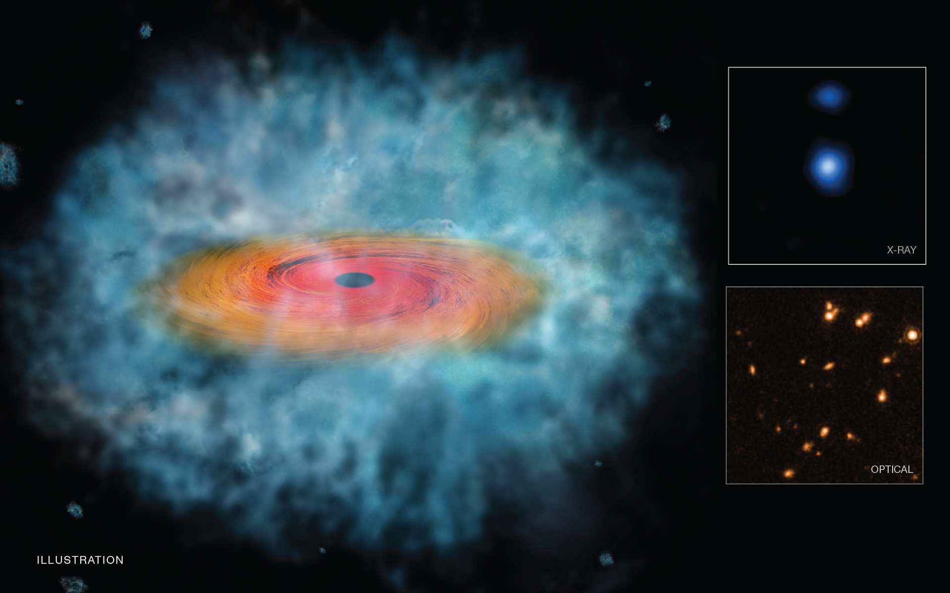 NASA Illustration of evidence that the direct collapse of a gas cloud produced supermassive black holes in the early Universe.