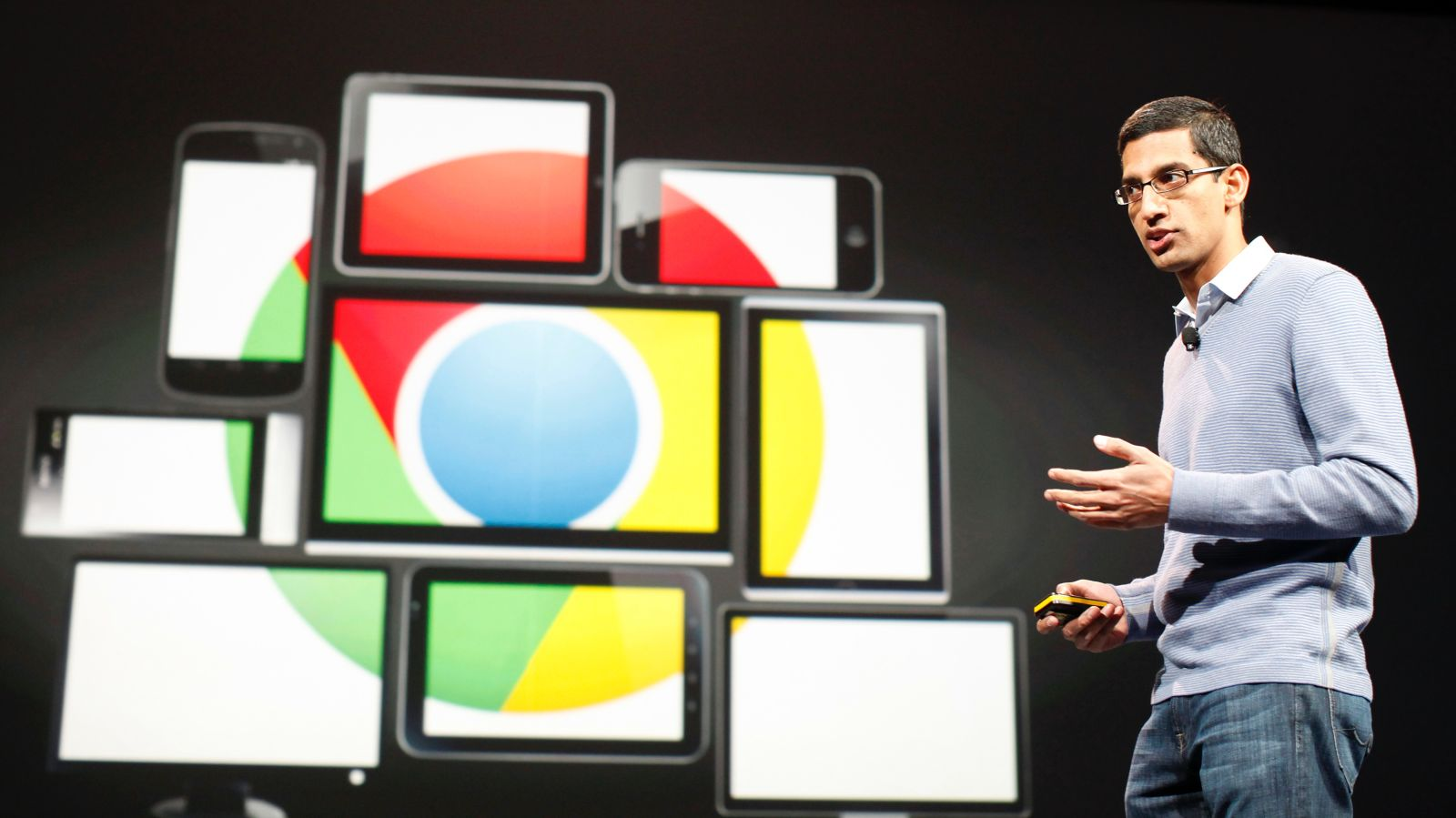 Sundar Pichai, then nsenior vice president of Google, now  is currently the Chief Executive Officer of Google Inc., speaks during Google I/O Conference at Moscone Center in San Francisco, June 28, 2012. REUTERS/Stephen Lam