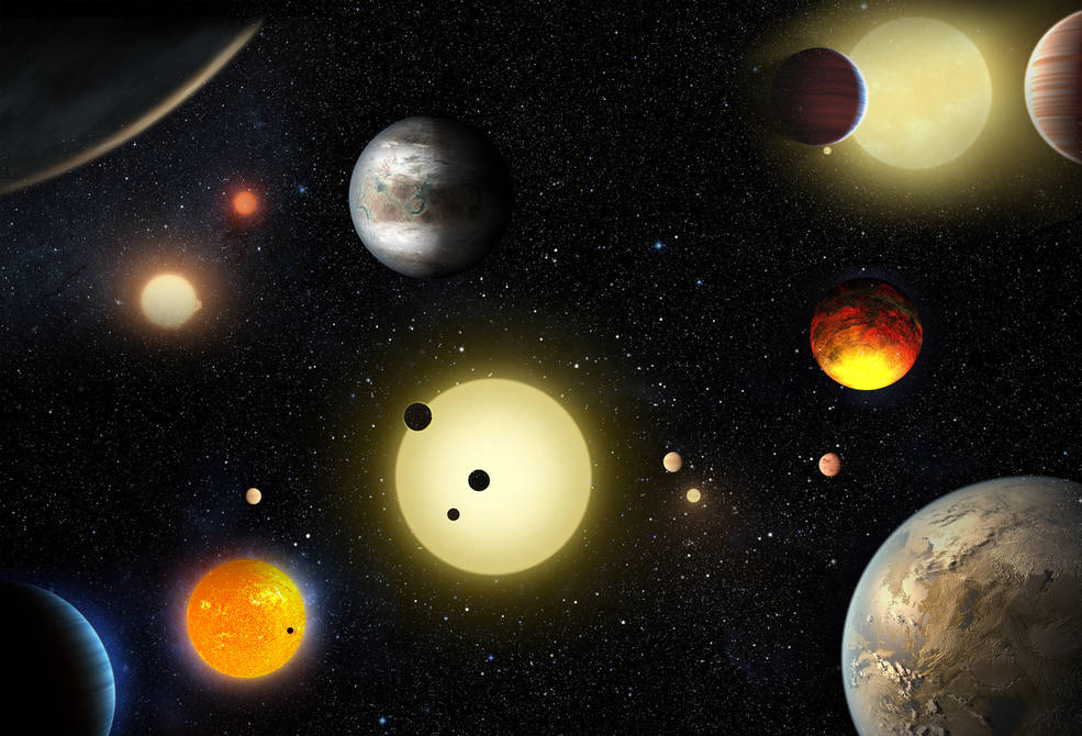 This artist's concept depicts select planetary discoveries made to date by NASA's Kepler space telescope. NASA/W. Stenzel