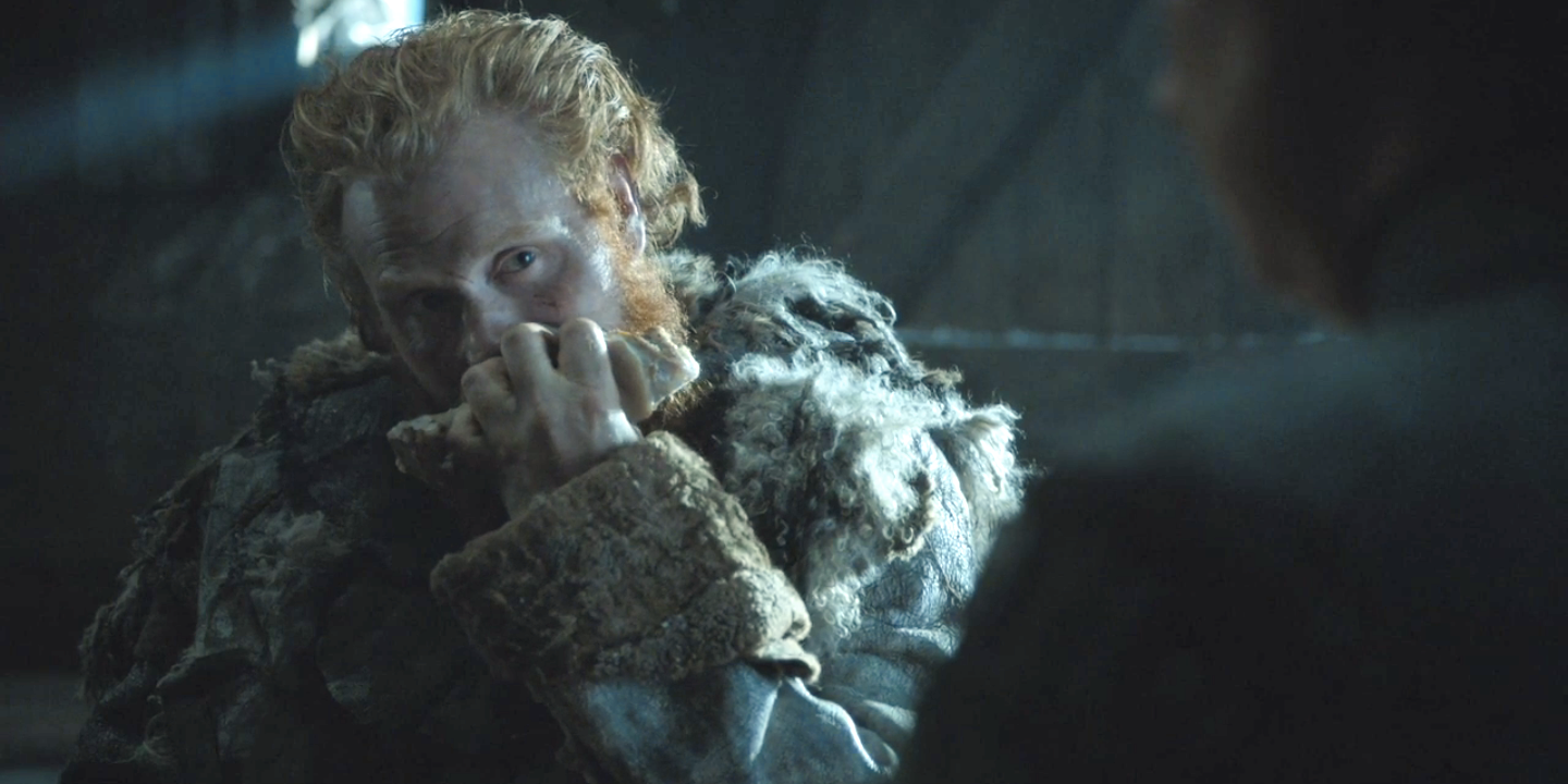 Tormund consumes his dinner sensually.
