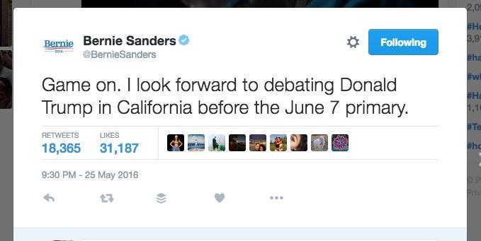 """Game on."" Donald Trump and Bernie Sanders may debate"
