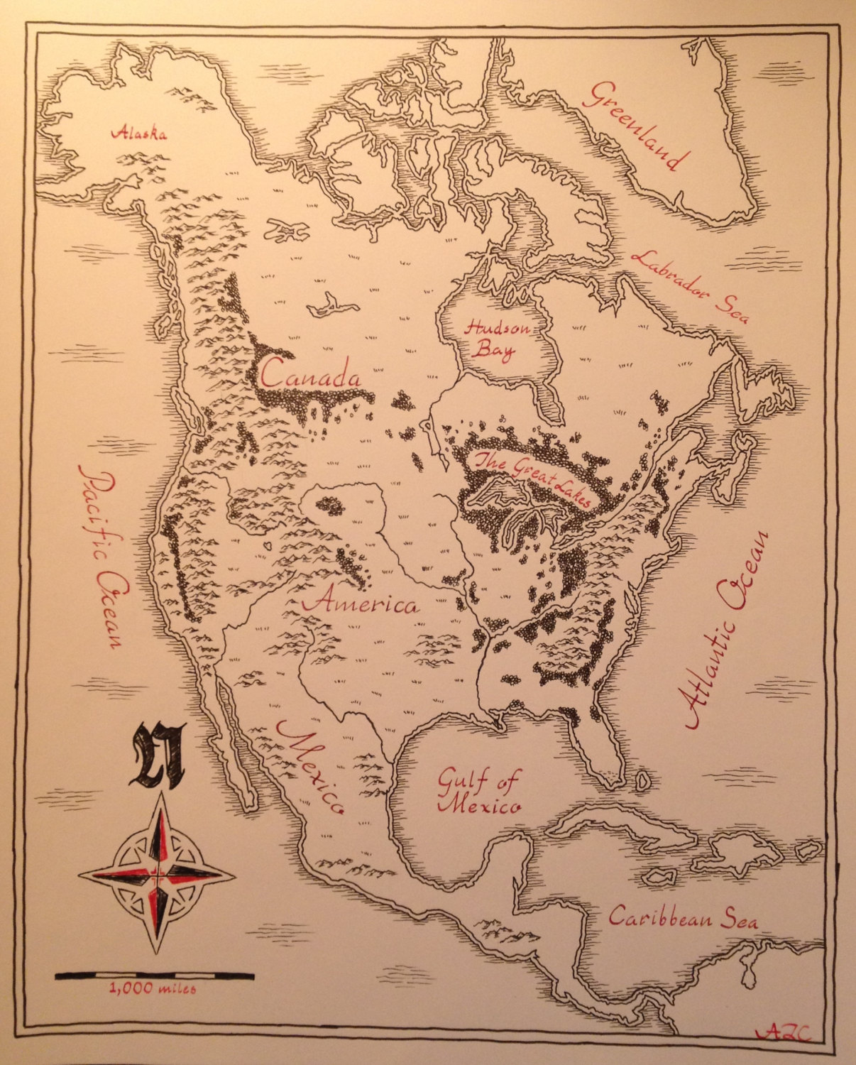 Map Of North America Drawn In Tolkein S Style Boing Boing