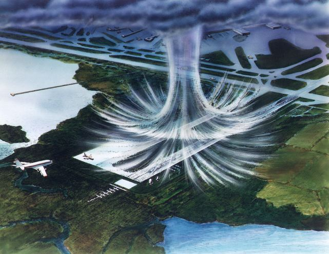 More details Illustration of a microburst The air moves in a downward motion until it hits ground level. It then spreads outward in all directions. The wind regime in a microburst is opposite to that of a tornado.
