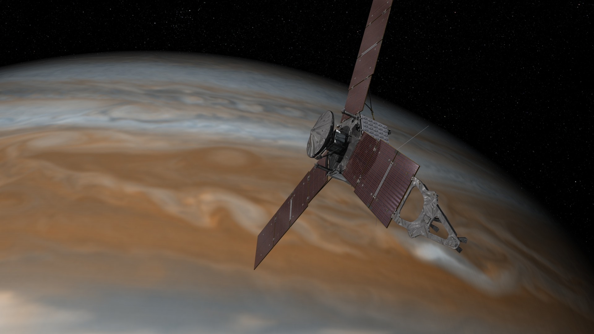 Artist's rendering shows NASA's Juno spacecraft making one of its close passes over Jupiter. NASA/JPL-Caltech