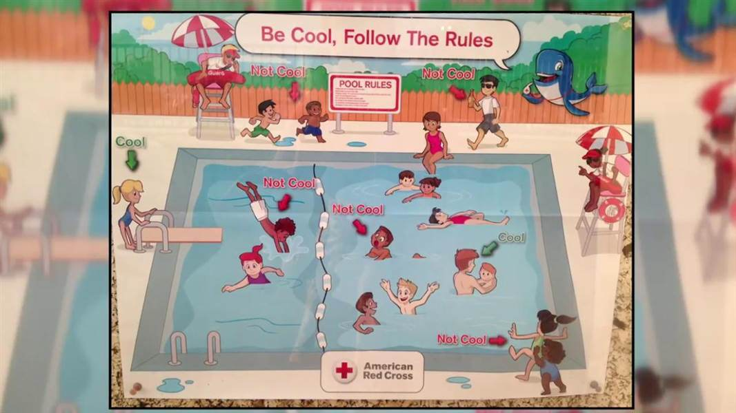 Super racist' pool safety poster prompts Red Cross apology