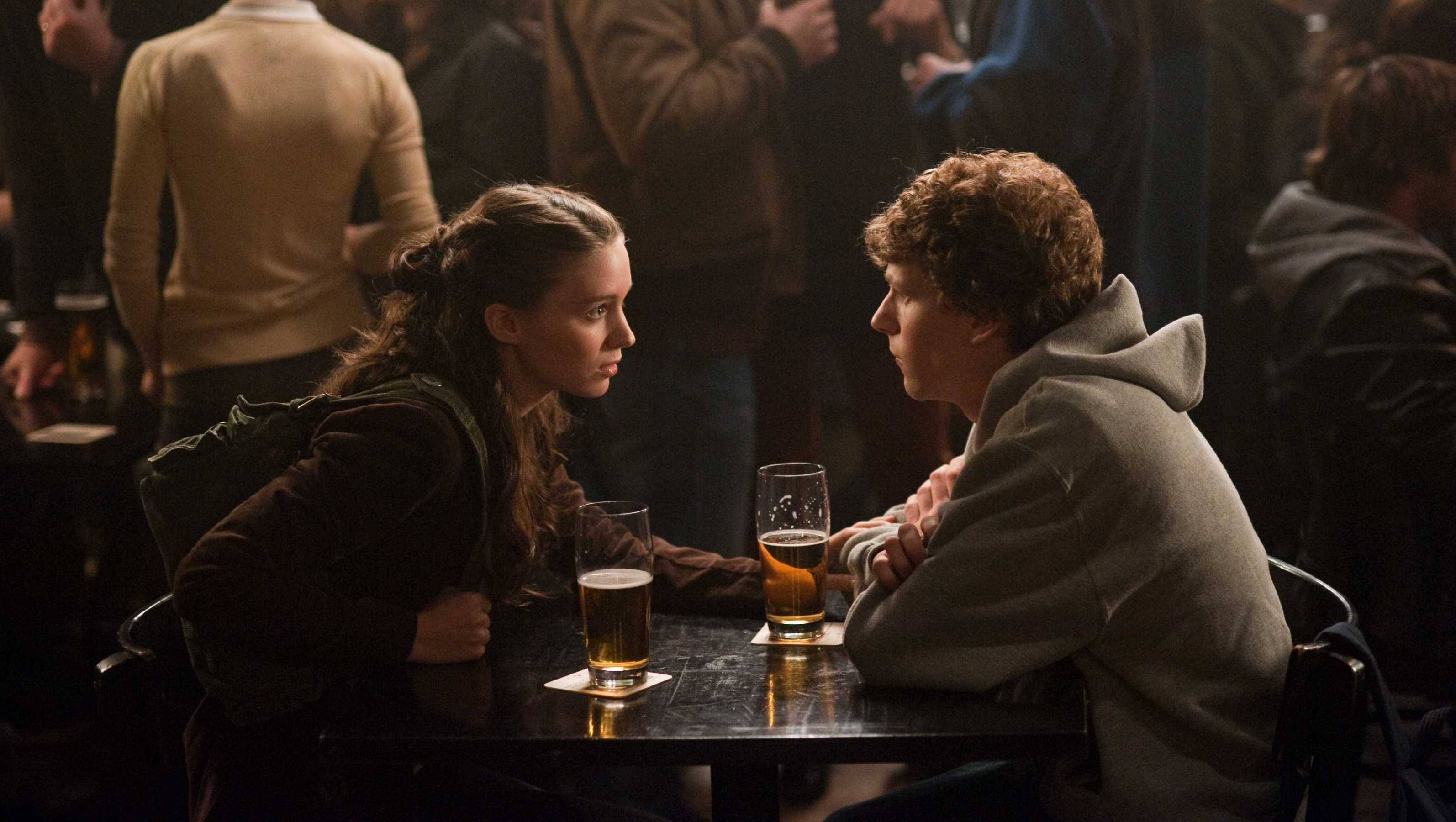 "Rooney Mara, left, and Jesse Eisenberg in Columbia Pictures' ""The Social Network."""