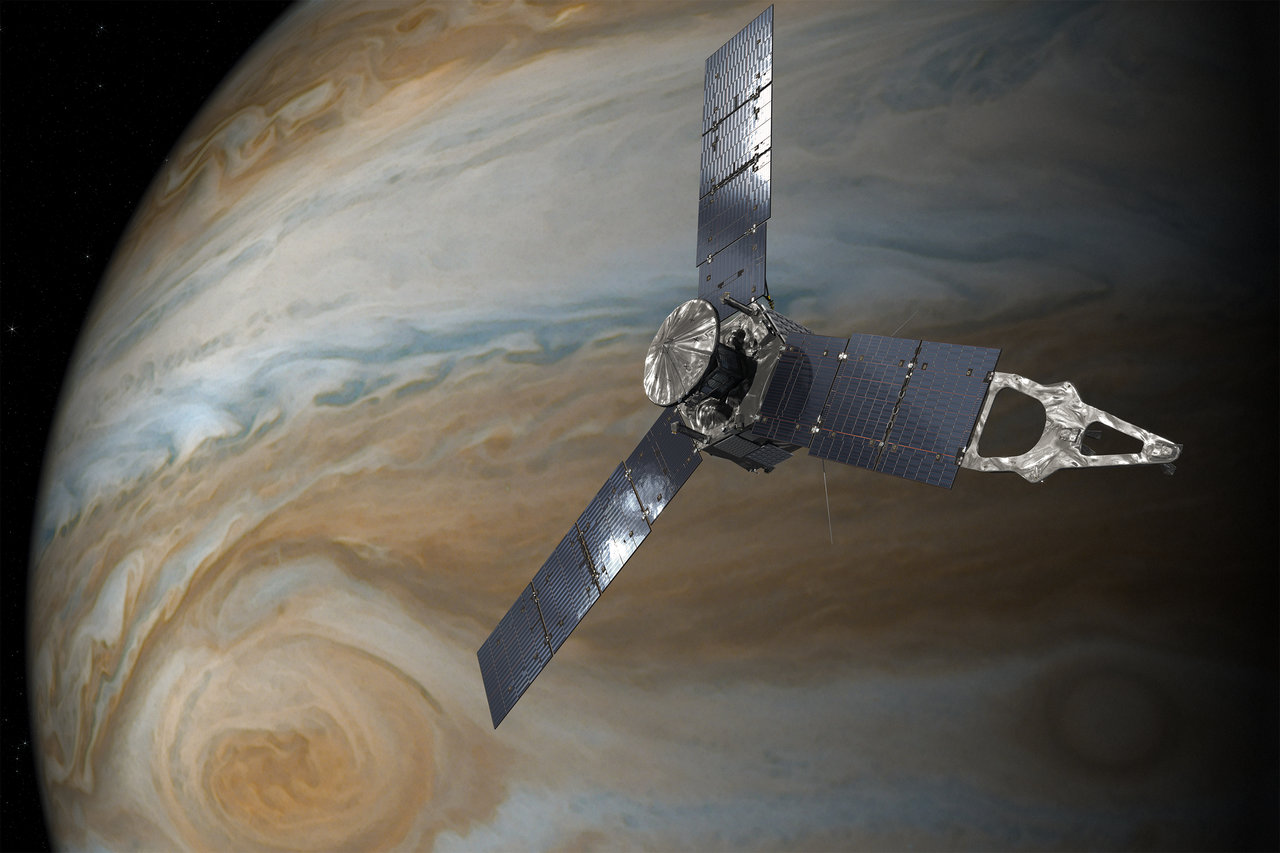 Artist concept of Juno near Jupiter. [NASA]