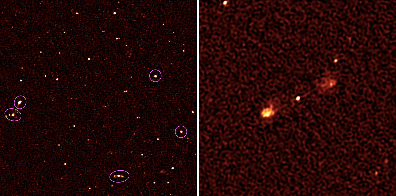Left: A patch of sky about as big as the full moon where the MeerKAT telescope discerned the radio glow of about 200 galaxies. Only a few (circled) had been previously observed; Right: A distant galaxy that is being blown up by a black hole at its center. Credit SKA South Africa