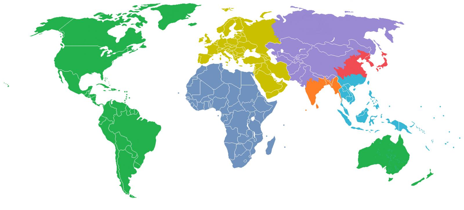 Map of the world divided into 7 regions one for each billion