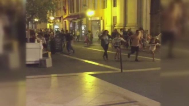 Nice, France: Social media video showed people fleeing after the incident