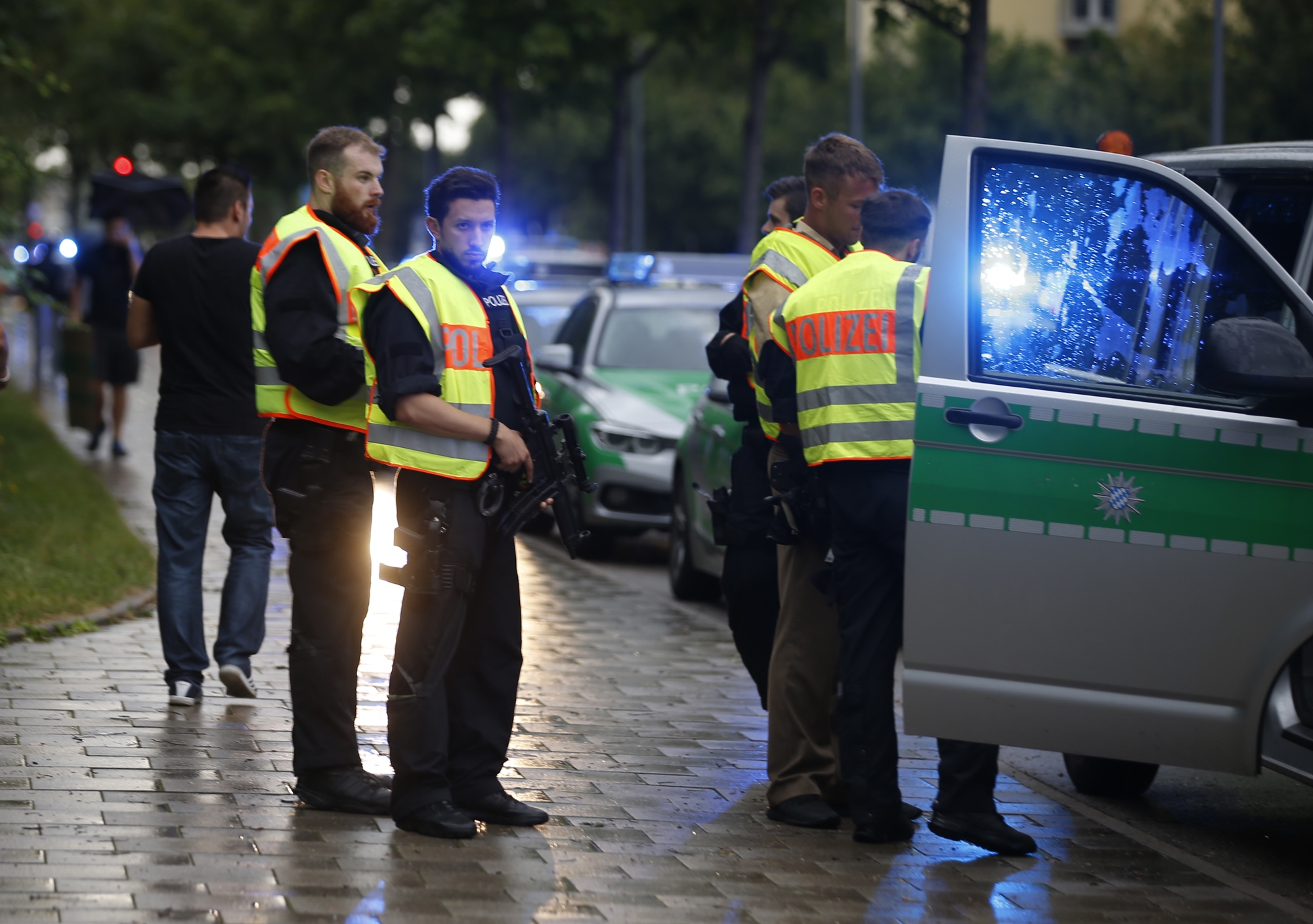 Police secure a street near mass shooting in Munich, July 22, 2016.  REUTERS