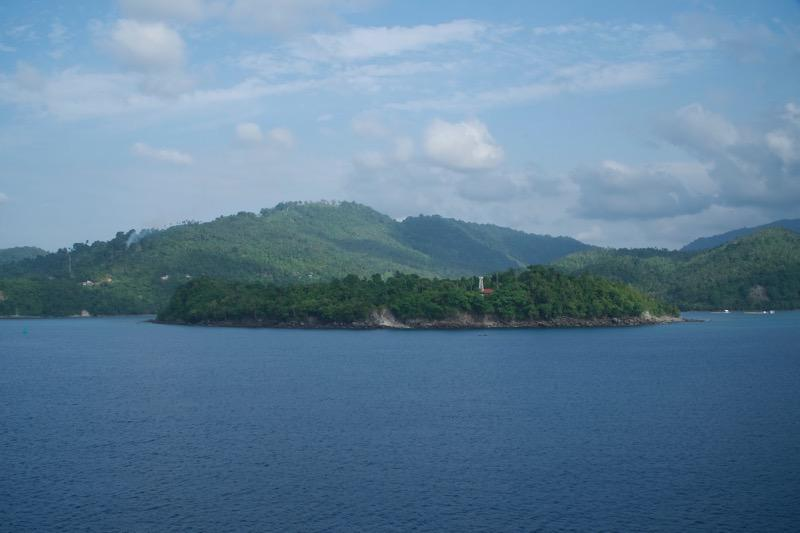 Numerous tiny islands seem to float outside Sabang harbor on the island of We, which is just off the northernmost tip of Sumatra.