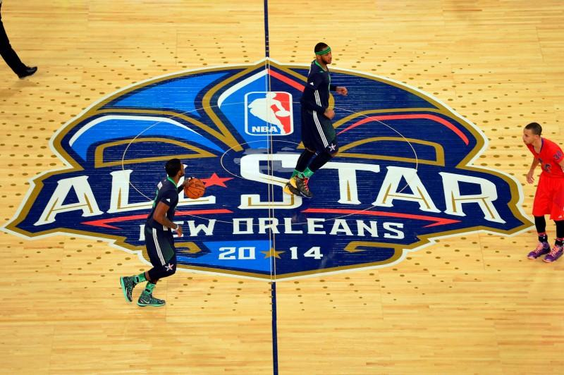 Eastern Conference guard Kyrie Irving (2) of the Cleveland Cavaliers brings the ball up court during the 2014 NBA All-Star Game in New Orleans, Louisiana, February 16, 2014.  REUTERS