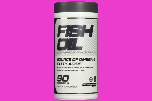 Bottle of 90 fish oil capsules for $1