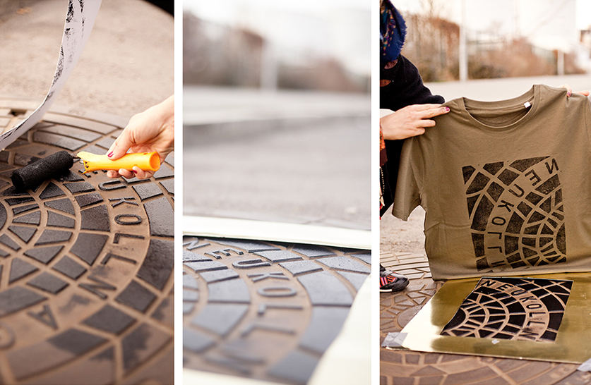 Textiles printed directly from sewer covers