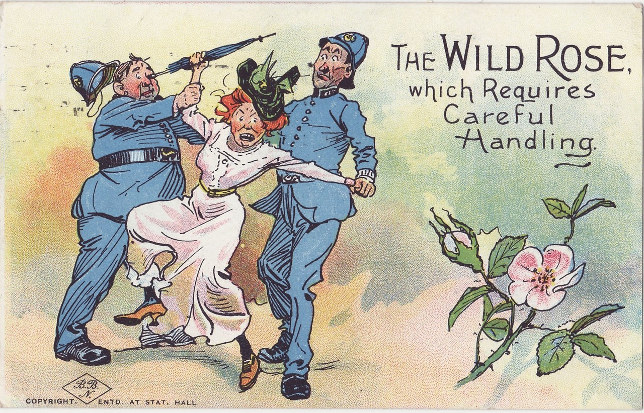 Anti-suffragette postcards warn against giving women rights