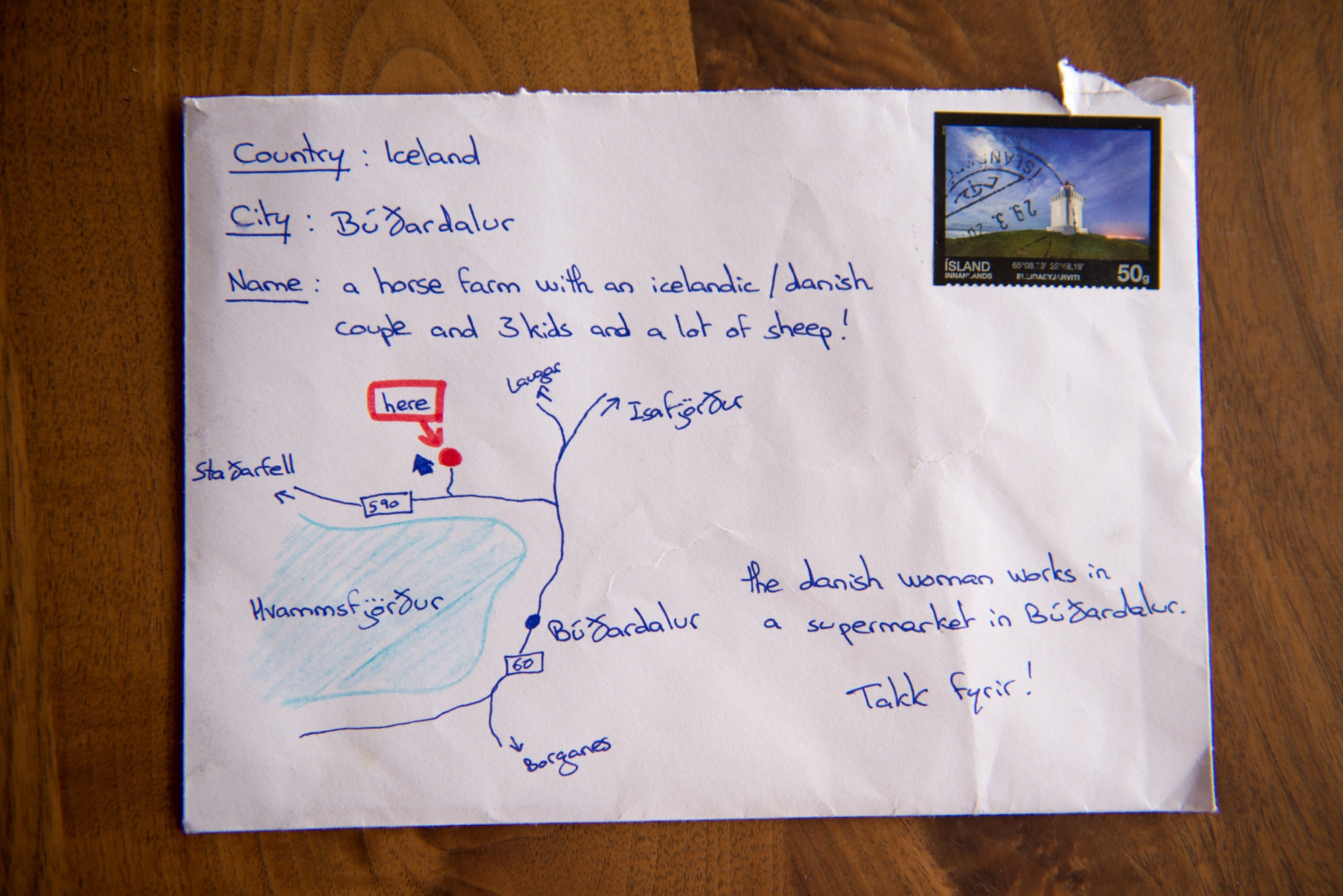 letter sent to iceland farm with hand drawn map instead of address gets there anyway
