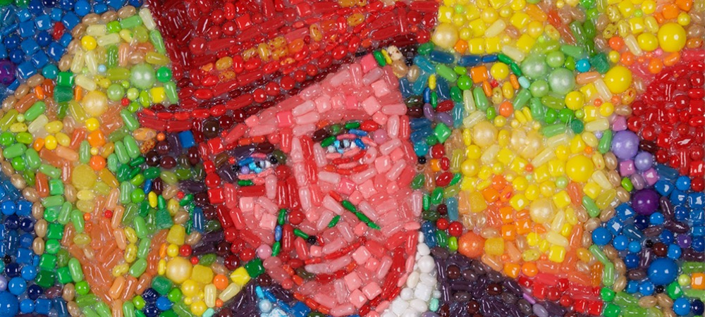 A candy portrait of Gene Wilder as Willy Wonka, by mosaic artist Jason Mecier