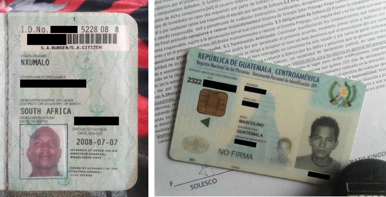 Two of the leaked identification cards -- on the left, a South African ID, and a Guatemalan ID on the right. (Image: leaked database, via ZDnet)