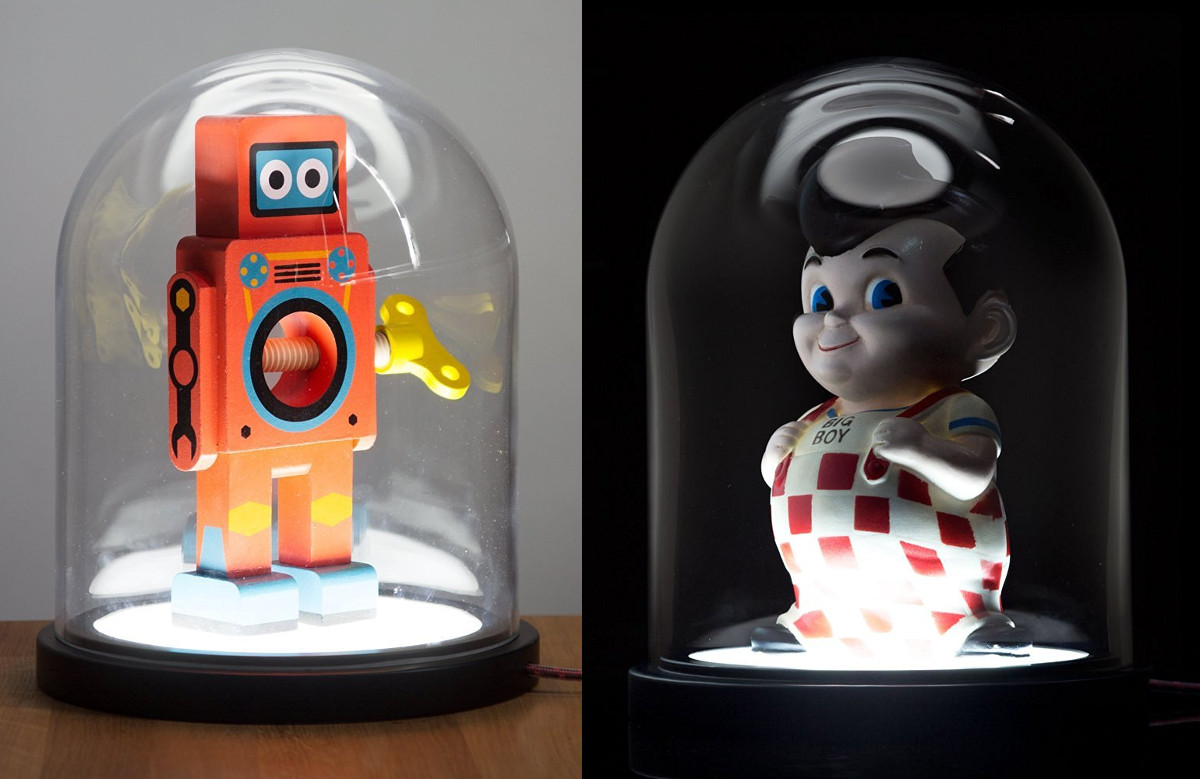 Bell-jars with white, underlighting LED bases