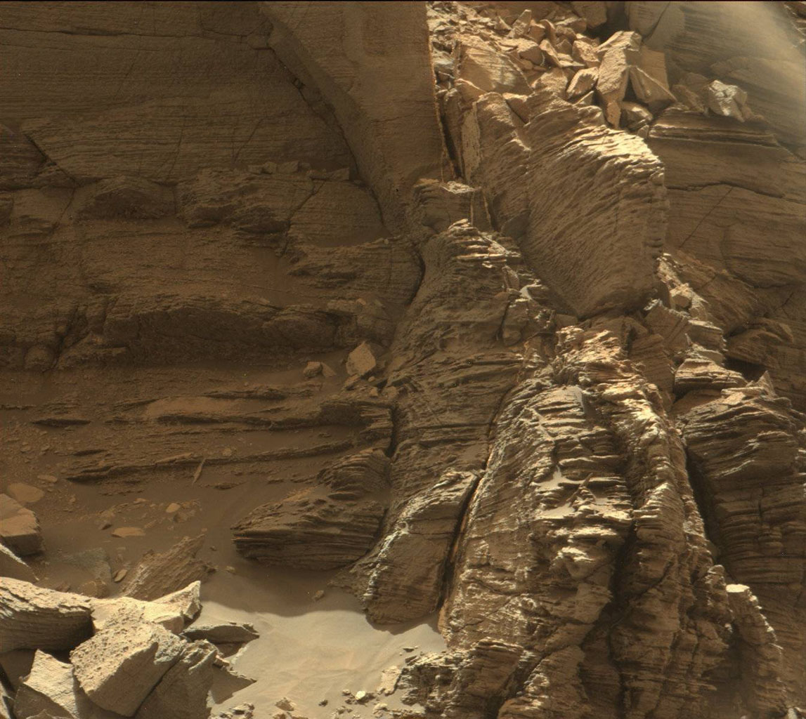 "This view from the Mast Camera (Mastcam) in NASA's Curiosity Mars rover shows an outcrop with finely layered rocks within the ""Murray Buttes"" region on lower Mount Sharp."