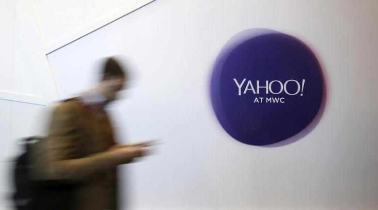 Yahoo logo at Mobile World Congress in Spain. February 24, 2016. REUTERS