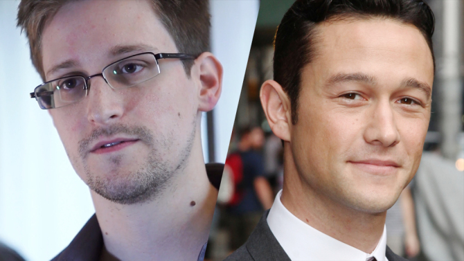 L: Edward Snowden. R: Joseph Gordon-Levitt, who portrays Snowden in Oliver Stone's film.