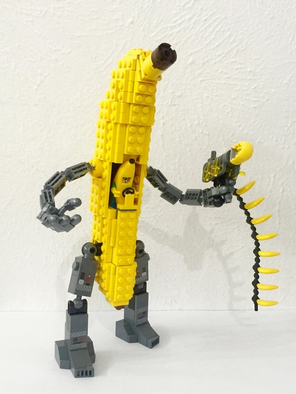 Just look at this lego banana-mecha being piloted by a dude in a banana suit