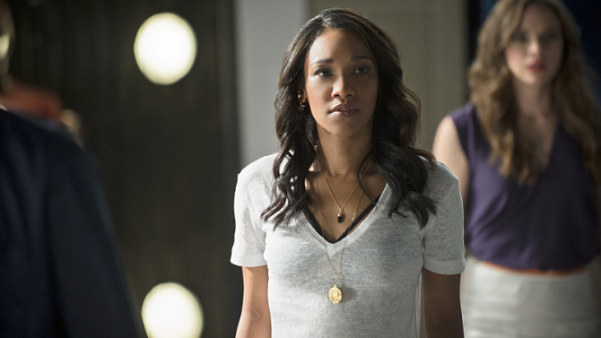 "The Flash -- ""The Man Who Saved Central City"" -- Image FLA201b_0443b.jpg -- Pictured (L-R): Candice Patton as Iris West and Danielle Panabaker as Caitlin Snow  -- Photo: Cate Cameron /The CW -- © 2015 The CW Network, LLC. All rights reserved."