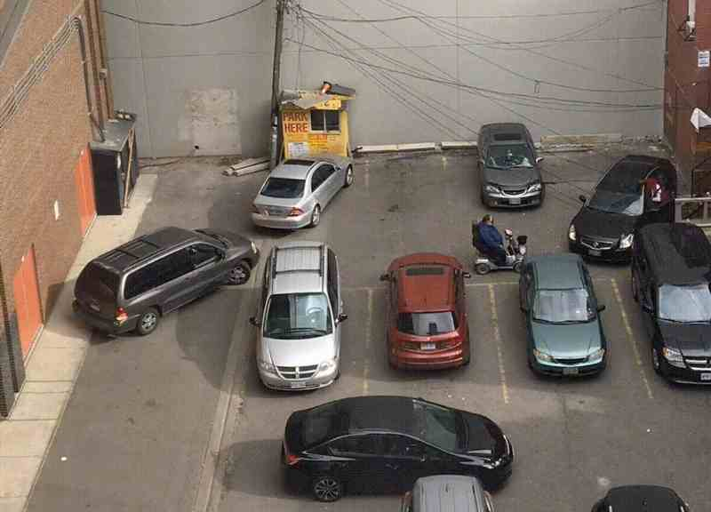Time lapse of terrible parking lot