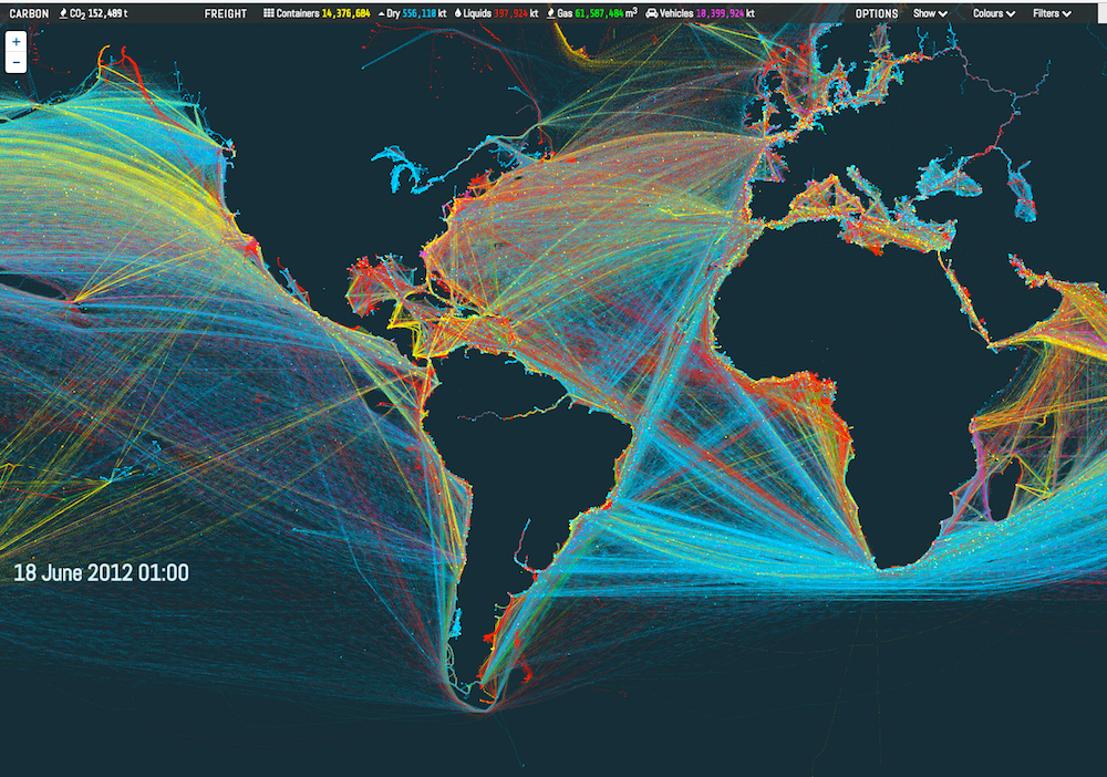 shipmap generates gorgeous maps of global shipping routes